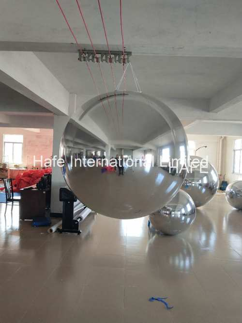 6.5ft Mirror Inflatable Lighting Decoration Ball 2m Silver Color To Meeting Decoration