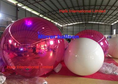 Custom 2m Giant Festival PVC Inflatable Mirror Balloon For Event Decoration In Pink
